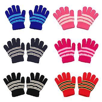 6 pár gyermek téli kesztyű semleges meleg kötött kesztyű teljes ujj kesztyű