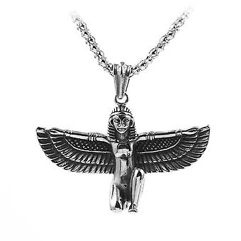 2pcs Retro Personality Exquisite Ancient Cleopatra Wings Necklace Pendant Accessories For Men And Women