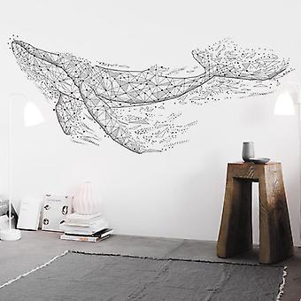 Geometrische walvis muur sticker sticker woonkamer sofa home decor pasta