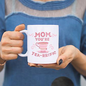 Mamma du är te-rrific roliga Keramikmugg Cup söt mors dag eller julklapp