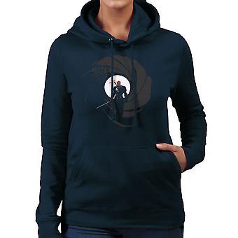 Deathstroke Slade Wilson Licence To Slash James Bond Gun Barrel Women's Hooded Sweatshirt