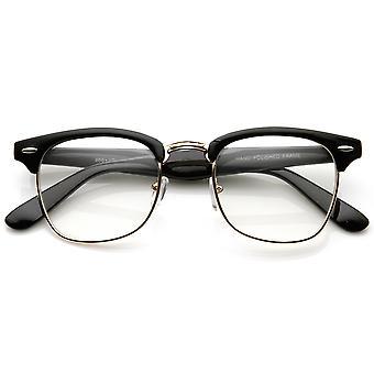 Vintage Inspired Classic Horn Rimmed Nerd Horn Rimmed UV400 Clear Lens Glasses