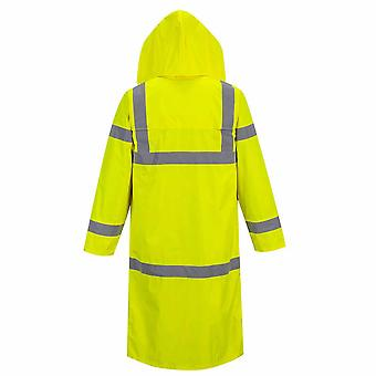 Portwest - Hi-Vis Safety Workwear X-Long Waterproof Hooded Rain Coat 122cm Long