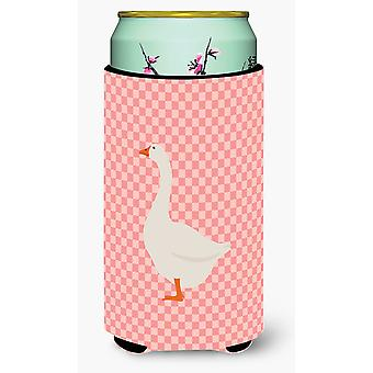 Embden Goose Pink Check Tall Boy Beverage Insulator Hugger
