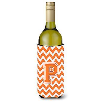 Letter P Chevron oranje en witte wijn fles drank isolator Hugger