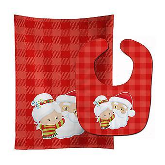 Christmas Santa Claus and Mrs Claus Baby Bib & Burp Cloth