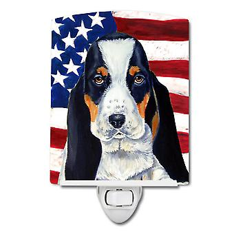 USA American Flag with Basset Hound Ceramic Night Light