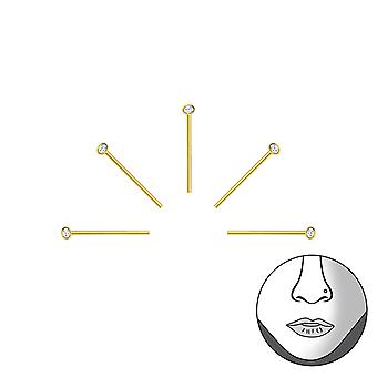 Set Of 5 1.2Mm Silver Nose Studs With Crystal - 925 Sterling Silver + Crystal Nose Studs - W34465X