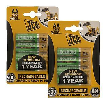8 x JCB AA 2400mAh akumulatory HR6 opłata i gotowe do użycia