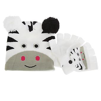 Childrens/Kids Animal Winter Fingerless Mitten Gloves And Bobble Hat Set