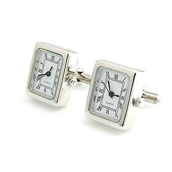 Mens pracy tonu Srebrny kwadratowy zegar zegarek spinki ślubne formalną działalność