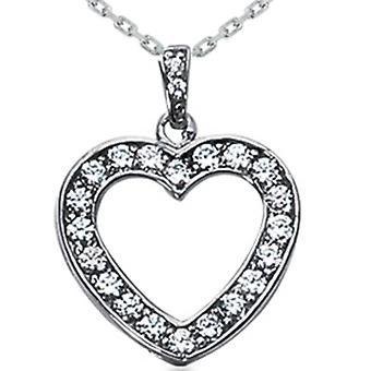 3 / 4ct timantti sydän riipus 14K White Gold kaulakoru uusi