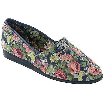 Mirak señoras Patricia slip algodón flor impresión zapatilla real