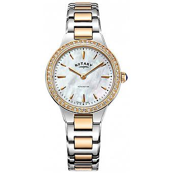 Rotary Women's Kensington Rose Gold Two Tone Stone Set LB05277/41 Watch
