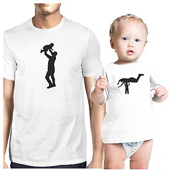 صورة ظلية والد الطفل مضحك تي شيرت مطابقة لطفل رضيع وأبي