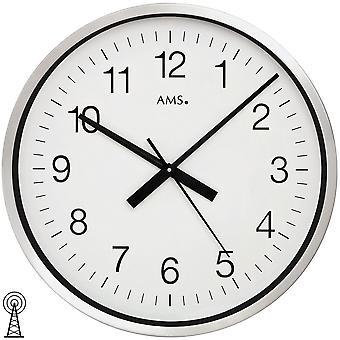 Vägg klocka vägg klockradio mineralglas metallhölje i polerad aluminium