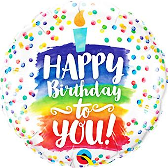 Qualatex 18 in Happy Birthday To je Rainbow Cake folie ballon