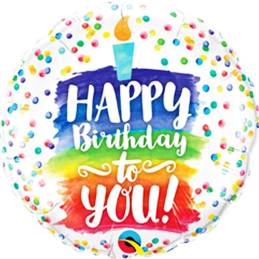 Happy Birthday To You.Qualatex 18in Happy Birthday To You Rainbow Cake Foil Balloon