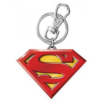 スーパーマン キーチェーン ロゴ DC コミックのスーパーマンの赤・黄色、金属、さらに小型のカラビナ。