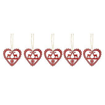 Festive Productions Set of 5 Christmas Metal 10cm Red Hearts Reindeer Tree Decorations