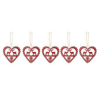 Festliche Produktionen Satz von 5 Metall 10cm rote Herzen Rentier Tree Weihnachtsschmuck