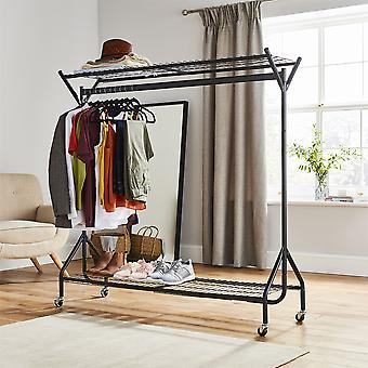 5ft long x 5ft Black Heavy Duty Hanging Clothes Garment Rail with Shoe Rack Shelf and Hat Stand