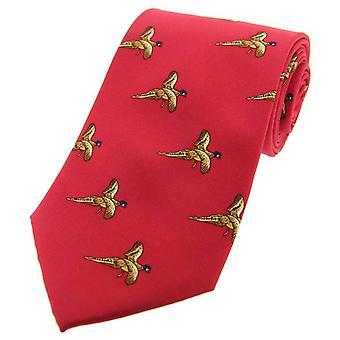 David Van Hagen voando faisão país seda gravata - vermelha