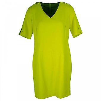Marie Mero Short Sleeve V-neck Lime Shift Dress