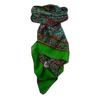 Mora seda bufanda cuadrada tradicional Har Citron Vert y aguamarina por Pashmina y seda