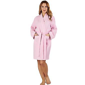 Slenderella HC1300 Women's Waffle Pink Dressing Gown Loungewear Bath Robe Housecoat Robe