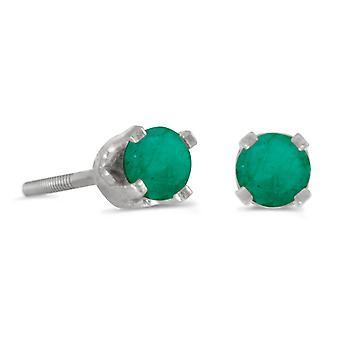 LXR 3mm petite pyöreä smaragdinvärinen kierrekorkki korvakorut 14k valkoinen kulta 0.18ct