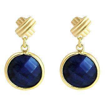 Boucles d'oreilles Gemshine avec pierres précieuses de saphir bleu profond en 925 plaqué argent ou or