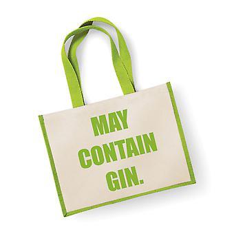 Large Jute Bag May Contain Gin Green Bag
