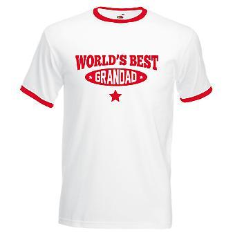 World's Best Grandad Tshirt White with Red