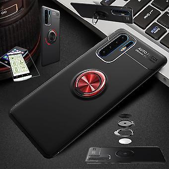 Для Huawei P30 Lite ультра тонкий магнит металлический кольцо Чехол черный/красный + жесткий стеклянный мешок рукав крышки рукав