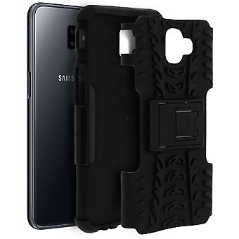 Shockproof Stand case, Backcover for Samsung Galaxy J6 Plus & Kickstand - Black
