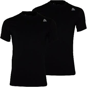 Reebok 2-Pack Спорт Производительность Экипаж-Neck футболки, черный