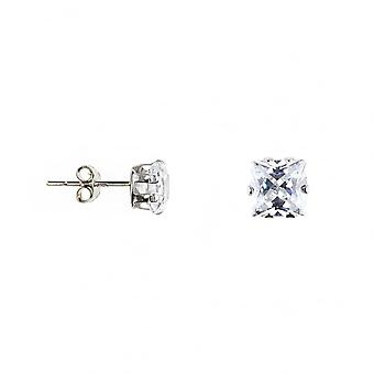 Eternity 9ct White Gold Square Cubic Zirconia Stud Earrings