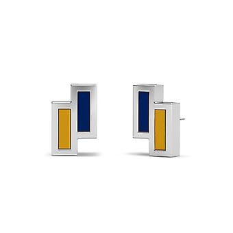 Kent State University Sterling Zilver Asymmetrische Email Stud Oorbellen in blauw en geel