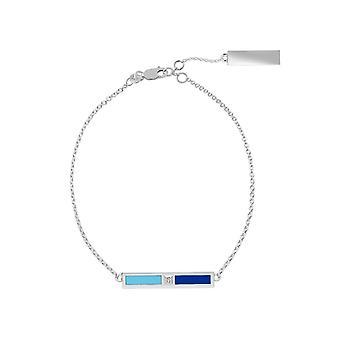 Spelman College Sterling Silver Diamond Bar Chain Bracelet In Sky Blue & Blue