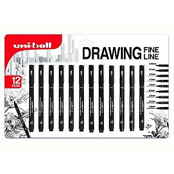 Uni-Ball Pin Fine Line Drawing Pen Set of 12 (0.05 - 0.8mm), Black