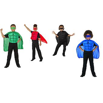 Crianças kit de super-herói verde com máscara de olho do traje de espuma placa torácica e manto crianças traje