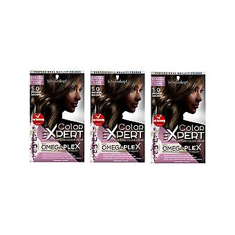 Schwarzkopf Color Expert 5.0 Medium Brown Omegaplex Permanent Hair Dye x 3 Pack