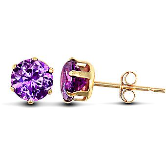 Jewelco London Ladies 9ct Yellow Gold Purple Round Brilliant Cubic Zirconia Solitaire Claw Set Stud Earrings, 5mm