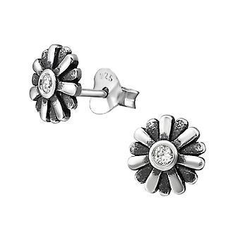 Flower - 925 Sterling Silver Cubic Zirconia Ear Studs - W31254X