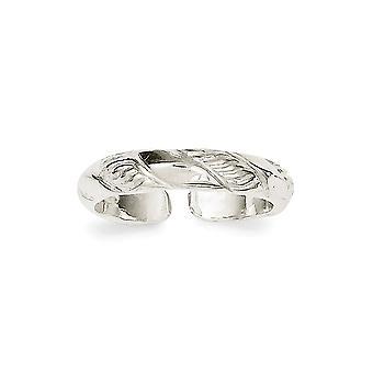 925 Sterling Sølv Solid Teksturert Tå Ring Smykker Gaver til kvinner - 1,7 Gram