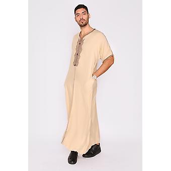 Gandoura anwar men's long robe short sleeve casual thobe in beige