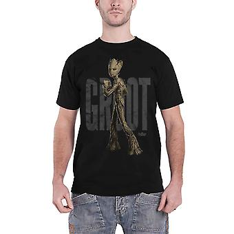 Avengers Infinity War T Shirt Teen Groot Text new Official Marvel Mens Black