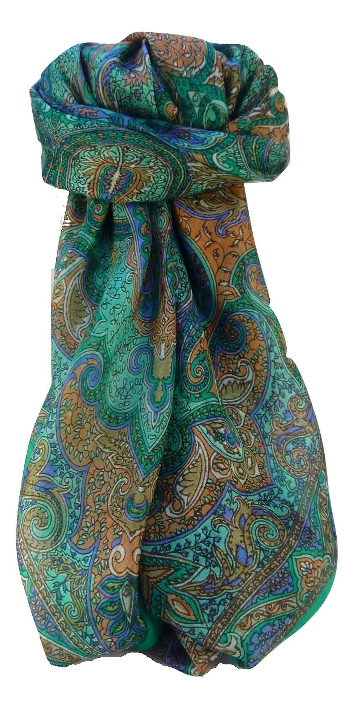Mulberry Silk Traditional Square Scarf Zia Emerald by Pashmina & Silk