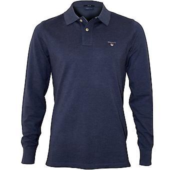GANT Long-Sleeve Pique Rugger Polo Shirt, Denim Blue Melange